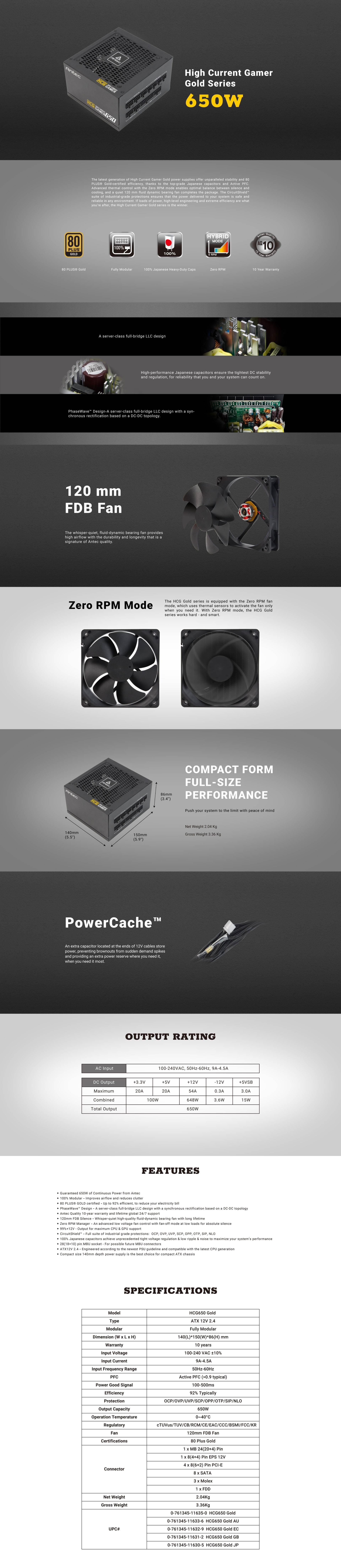 ANT-PSU-HCG650-GOLD : Antec High Current Gamer HCG 650W Gaming PSU